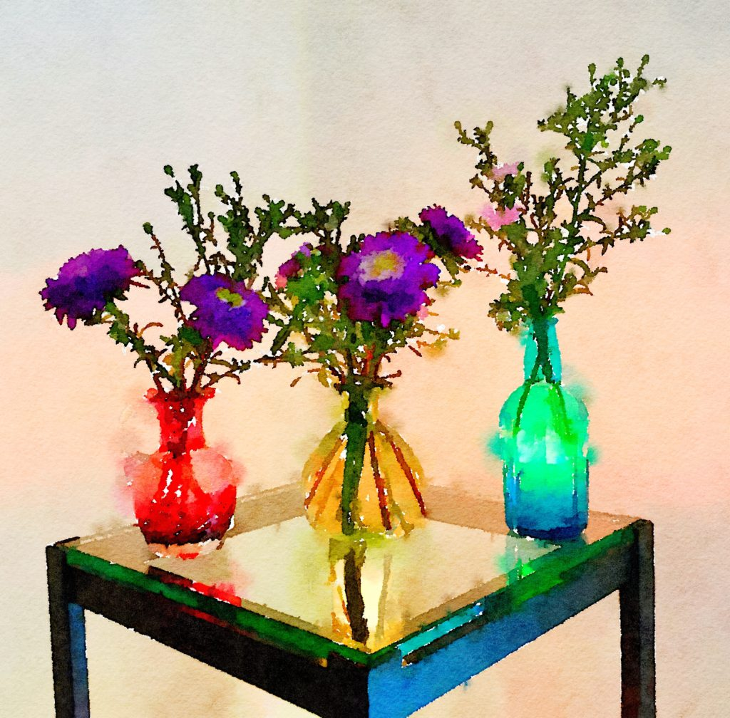 Braiden Blossoms Website Week Thirty-Five: Three Small Vases One Pink, Green, and Blue
