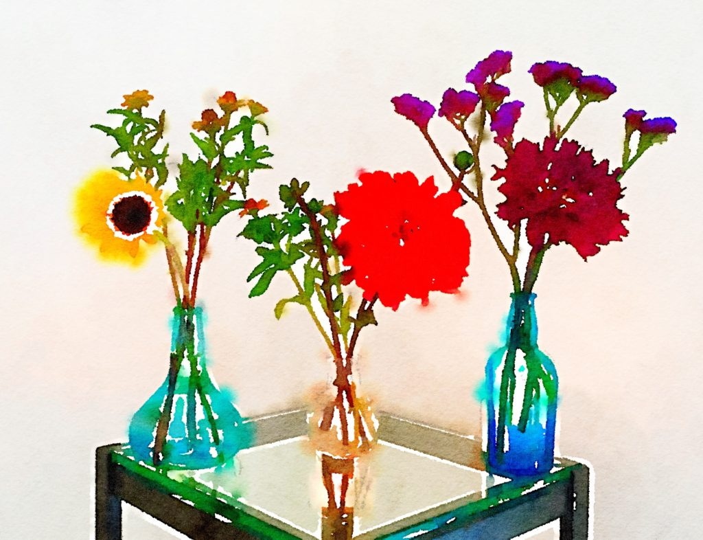 Braiden Blossoms Website Week Thirty-Four: Three Small Vases With Dahlias and a Single Sunflower