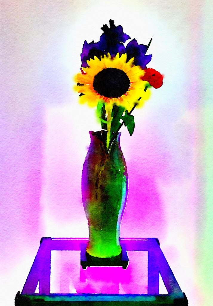 Braiden Blossoms Week Thirty One: Sunflower, Purple Gladiolas, and Single Red Petunia in Purple Ceramic Vase