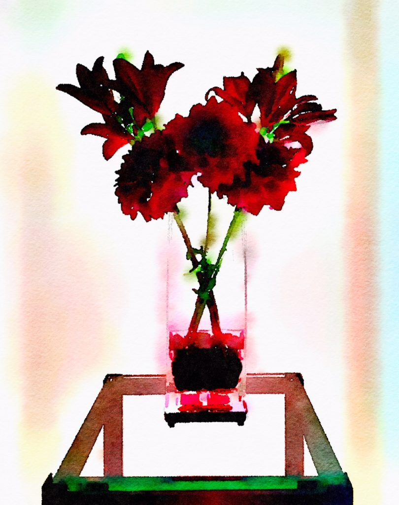 Braiden Blossoms Website Bouquet-a-Week Project Week Thirty-Seven: Lilies and Dahlias in a Clear Rectangular Vase