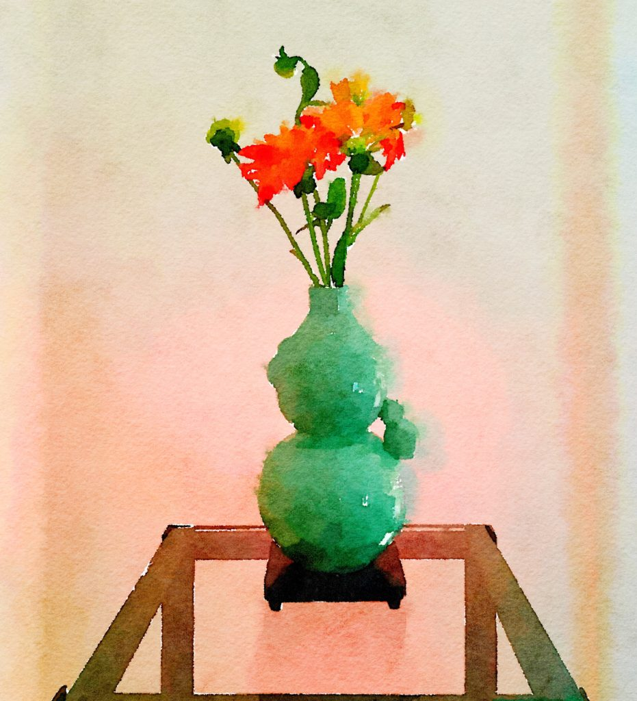 Braiden Blossoms Website Bouquet-a-Week Project Week Thirty-Seven: Orange Dahlias in an Asian Celadon Vase