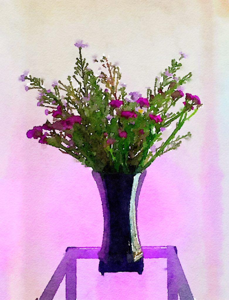 Braiden Blossoms Website Bouquet-a-Week Project Week Thirty-Seven: Purple Flowers in a Glossy Black Vase