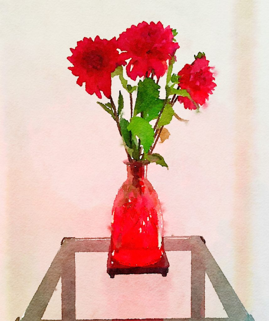 Braiden Blossoms Website Bouquet-a-Week Project Week Thirty-Seven: Three Dahlias in a Cut-Glass Cranberry Vase