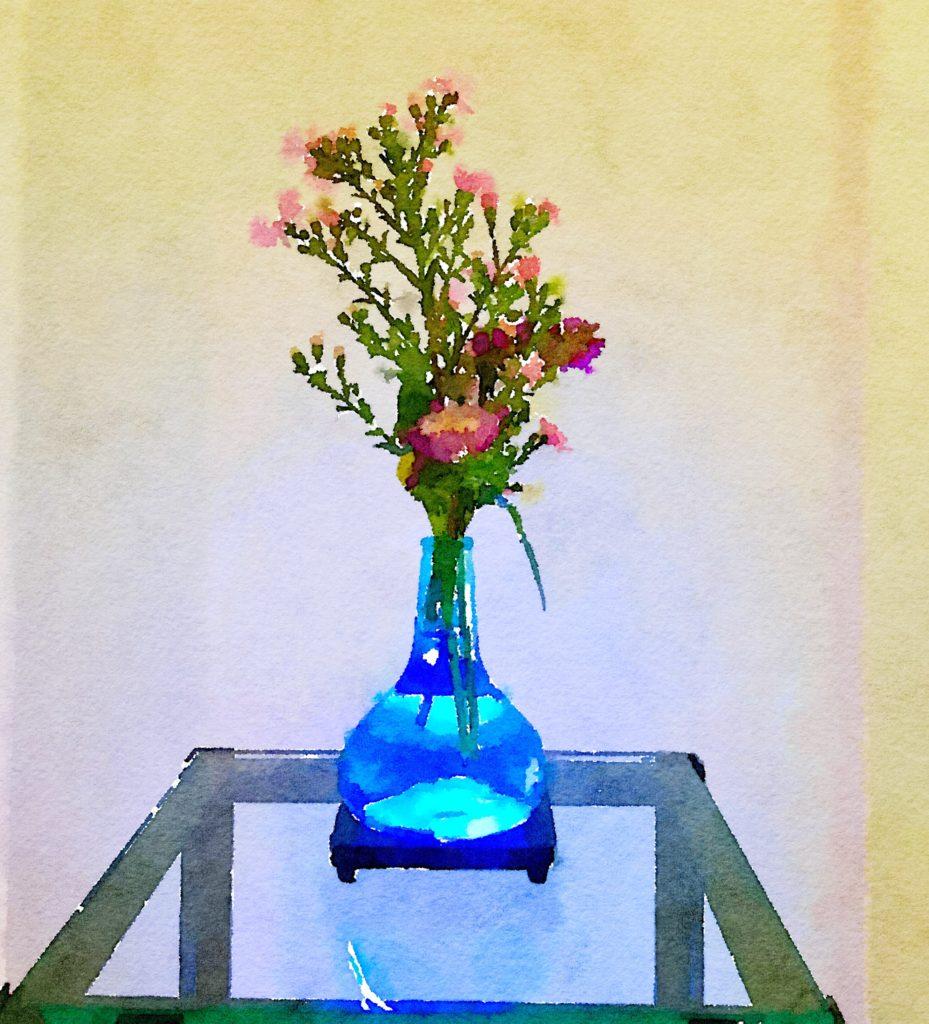 Braiden Blossoms Website Week Thirty-Six: Pink Flowers in a Blue Buddha Vase