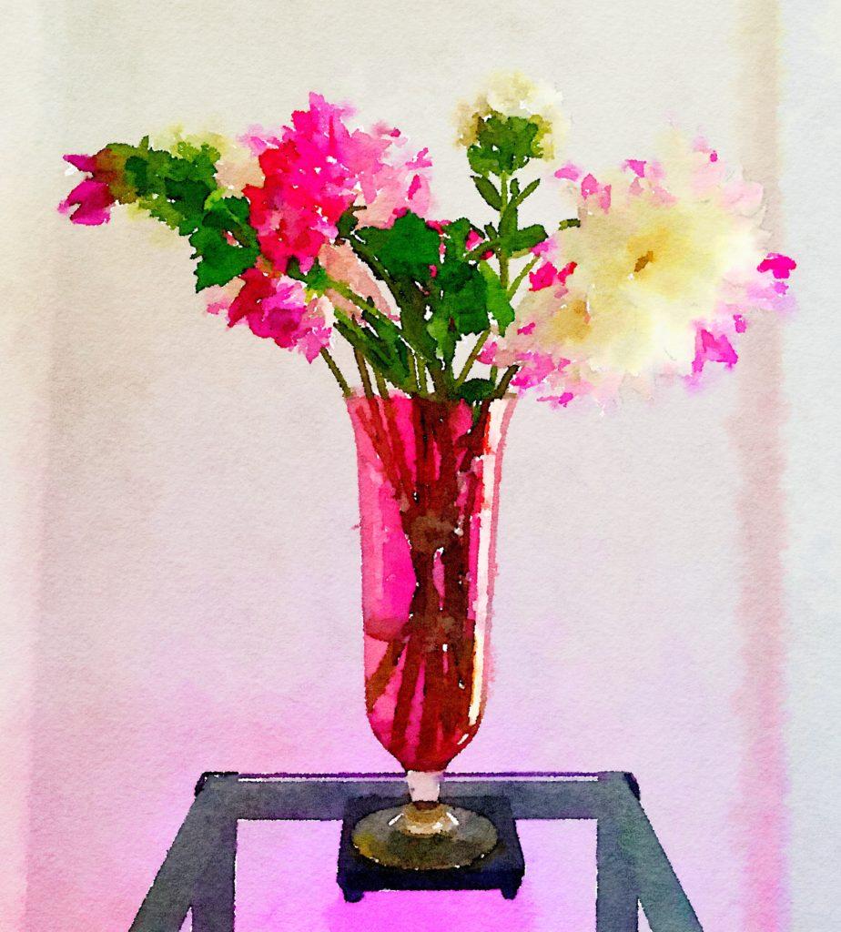 Braiden Blossoms Website Week Thirty-Three: A Half-Dozen Dahlias in a Tall Cranberry-Glass Vase