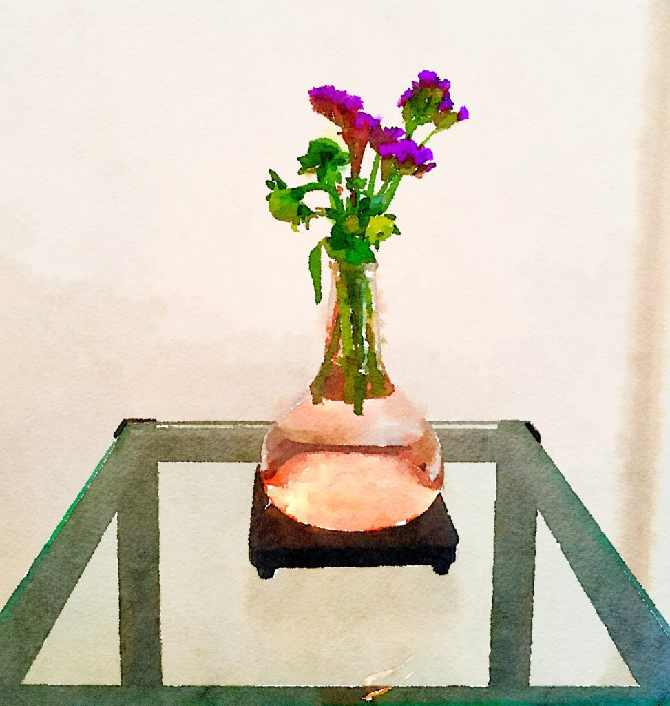 Braiden Blossoms Website Week Thirty-Three: Leftover Purple Flowers in Pink Buddha Vase