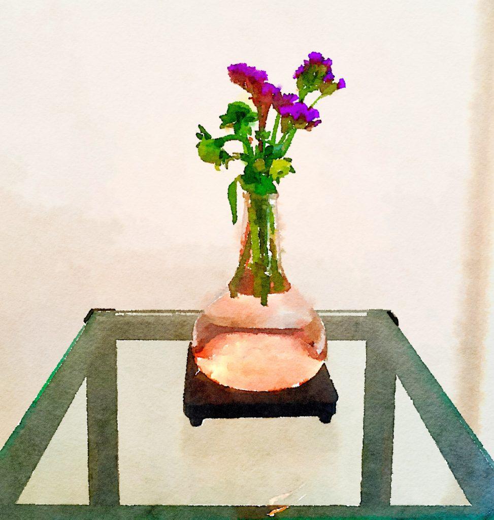 Braiden Blossoms Website Week Thirty-Three: Leftover Purple Flowers in Pink Buddha Vase