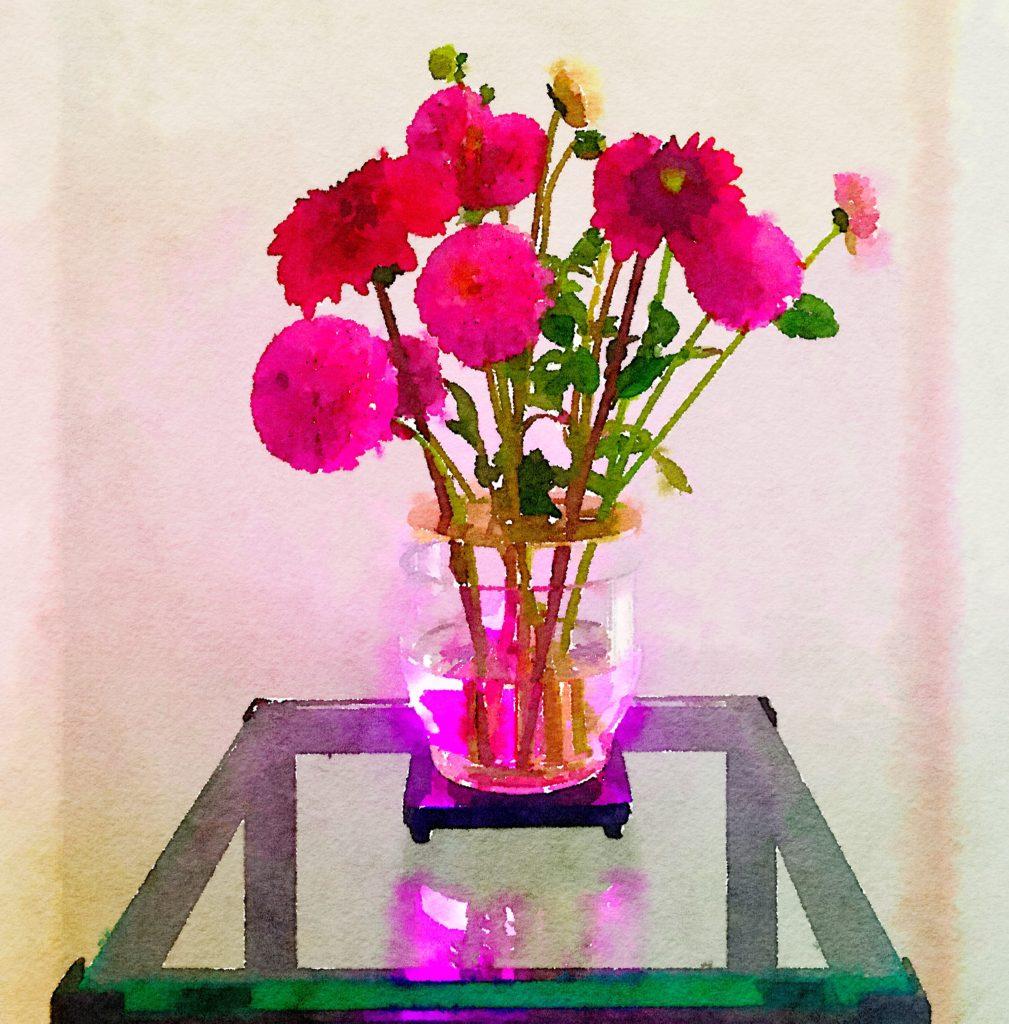 Braiden Blossoms Website Week Thirty-Three: Pink Dahlias in an Ikebana Vase