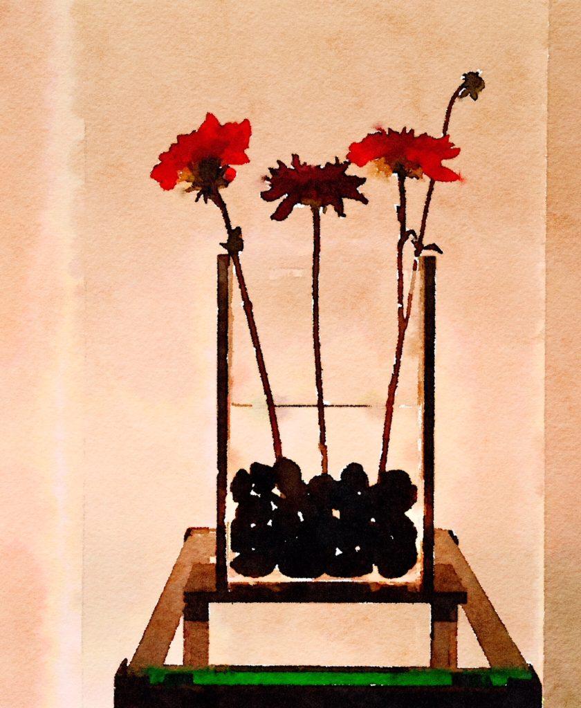 Braiden Blossoms Website Three Dahlias in Asian Vase at Night