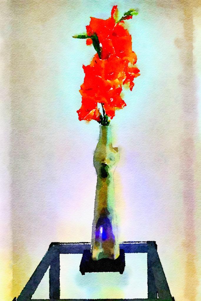 Braiden Blossoms Website Week Thirty-Nine: Orange Gladiolas in a Gray Cat Vase