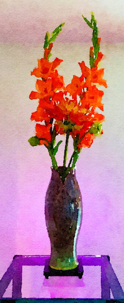 Braiden Blossoms Website Week Thirty-Nine: Orange Gladiolas and Huge Orange Dahlia in Purple Ceramic Vase