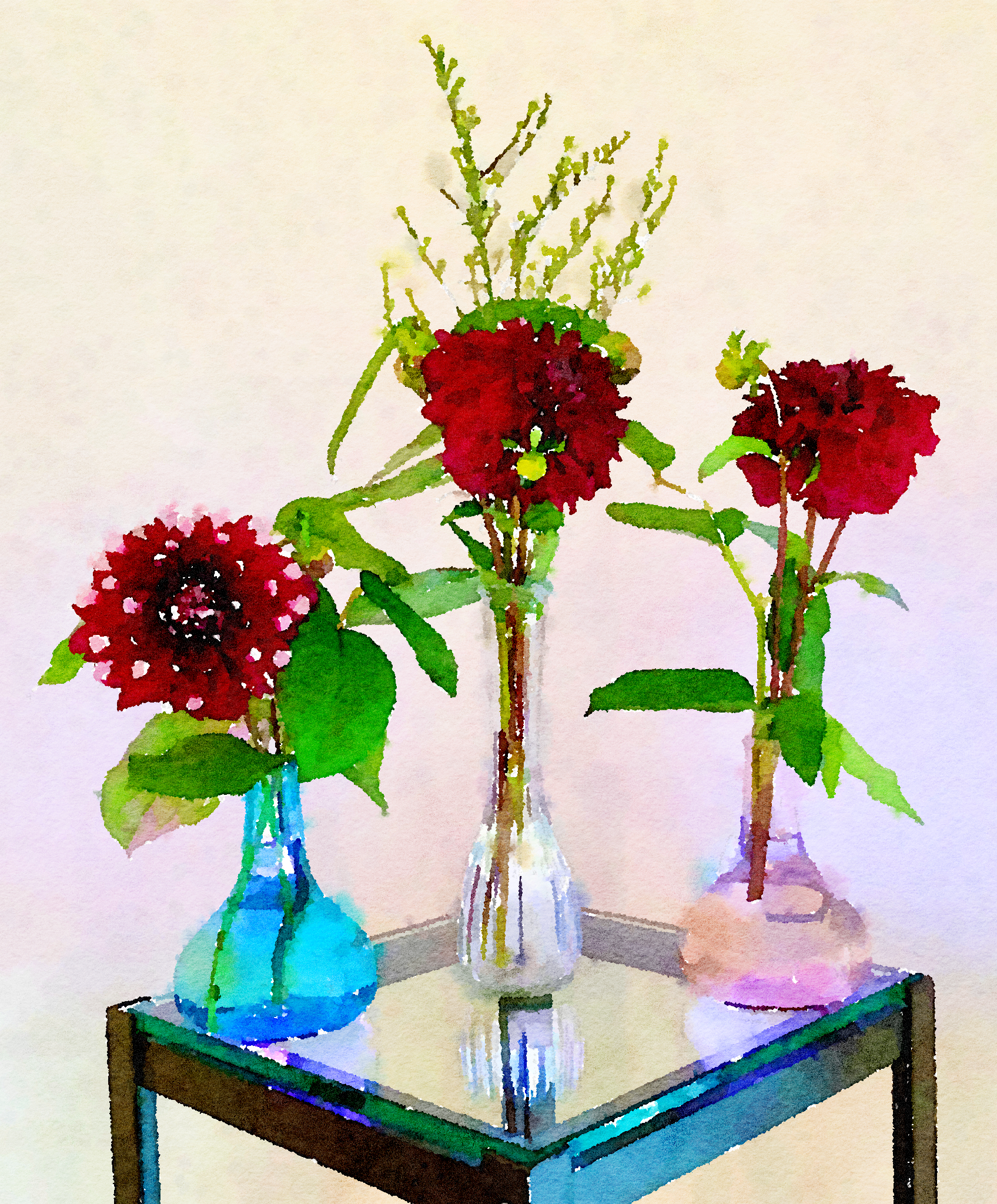 Braiden Blossoms Website Week Forty-One: Two Buddha Vases and Clear Glass Vase