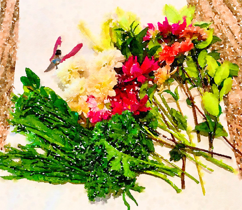 Braiden Blossoms Website Week Forty-Seven: Fresh Pike Place Market Flowers Laid in a Row Painted in Waterlogue
