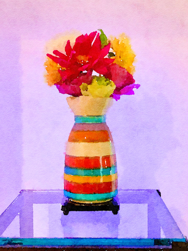 Braiden Blossoms Website Week Forty-Seven: Multicolored Dahlias in a Multicolored Vase