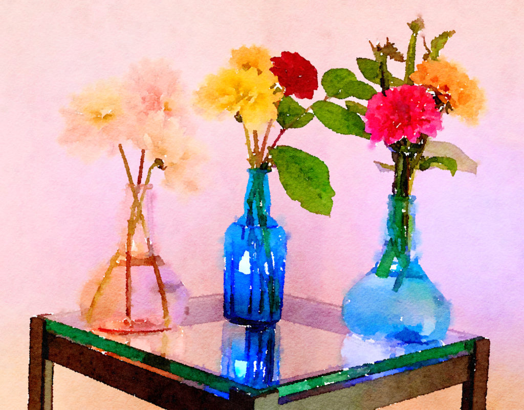 Braiden Blossoms Website Week Forty-Six: Dahlias in Two Buddha Vases and a Blue Vase