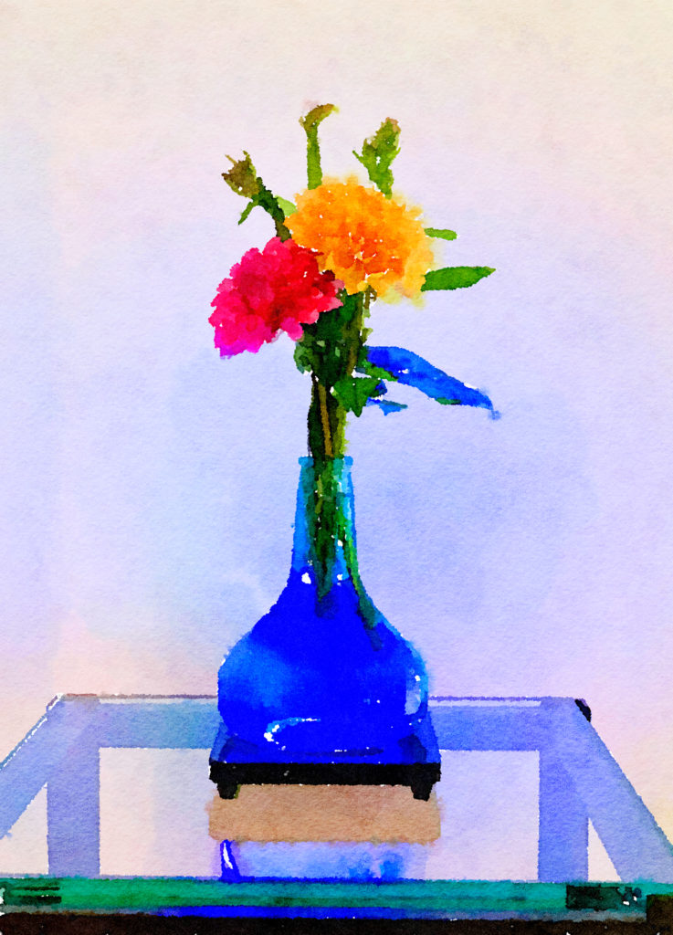 Braiden Blossoms Website Week Forty-Six: Two Dahlias in a Blue Buddha Vase