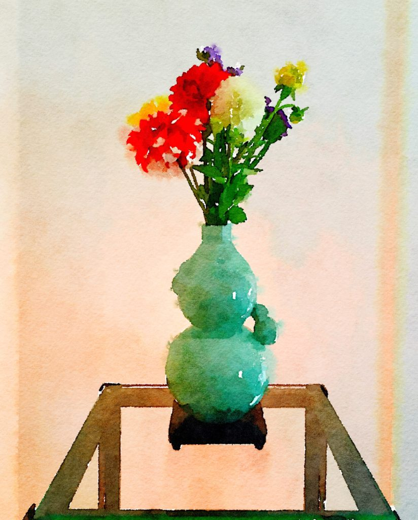Braiden Blossoms Website Week Thirty-Eight: Multicolored Dahlias in a Celadon Vase