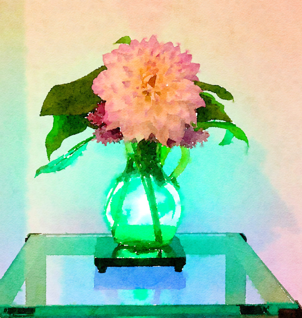 Braiden Blossoms Website Week Forty-Five: Single Dahlia in a Blue Buddha Vase