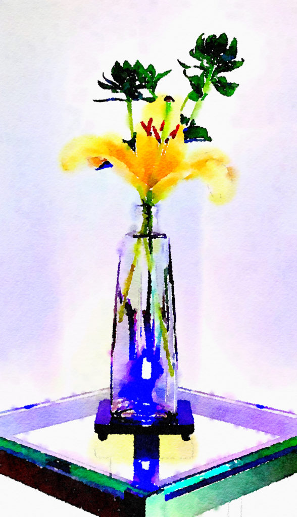 Braiden Blossoms Website Week Forty-Four: Yellow Lily in a Glass Vase