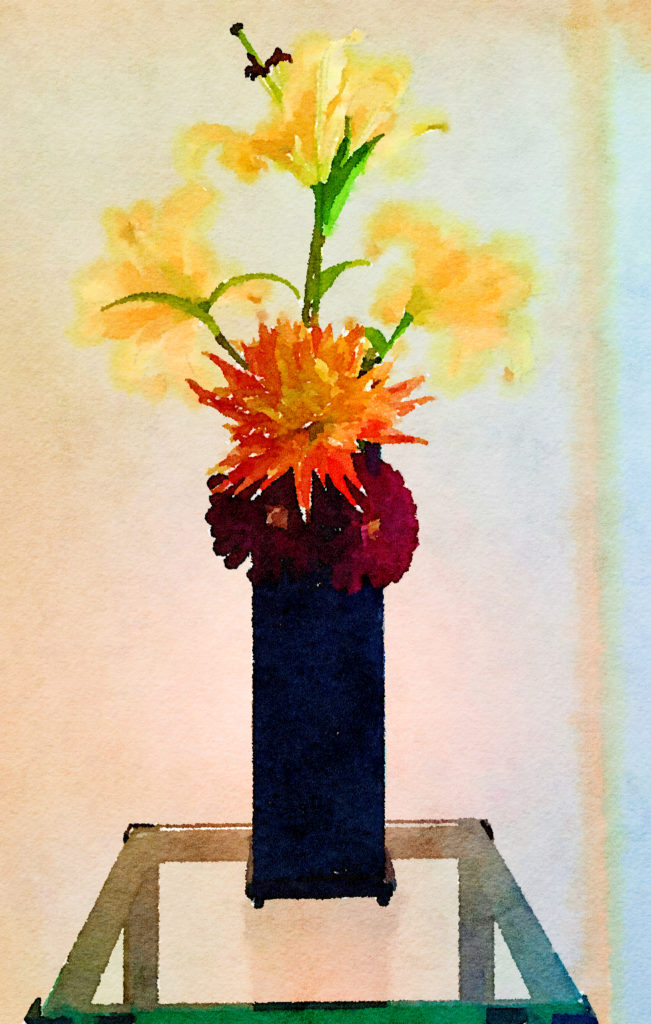 Braiden Blossoms Website Week Forty-Three: Two Yellow Lilies and Dahlias in an Asian Vase
