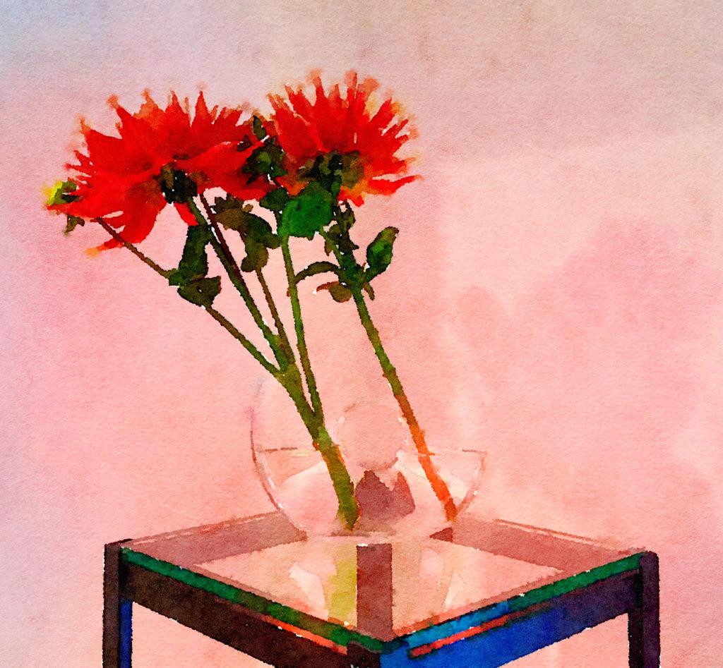 Braiden Blossoms Website Week Forty-Three: Two Orange Dahlias in a Spherical Vase